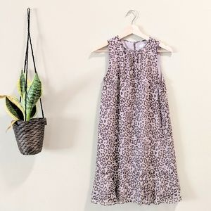 LOFT Leopard Print Ruffle Shift Dress Size XS